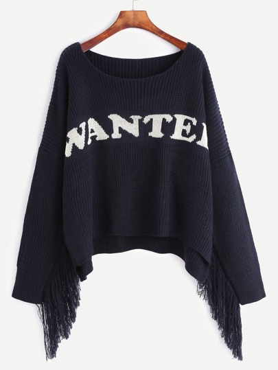 Navy Letter Pattern Fringe Trim Sweater
