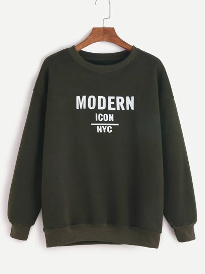 Dark Green Letter Print Sweatshirt