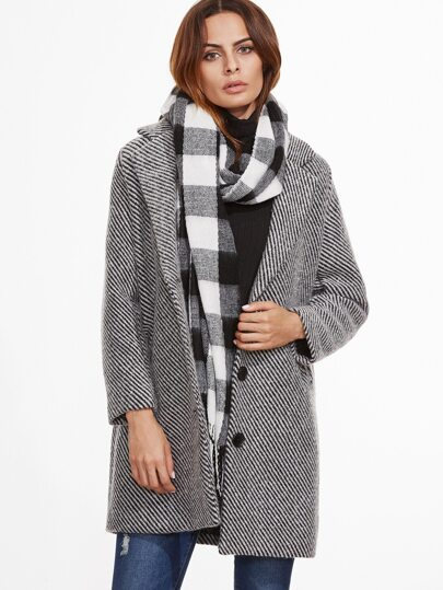 Contrast Striped Single Breasted Coat With Pockets