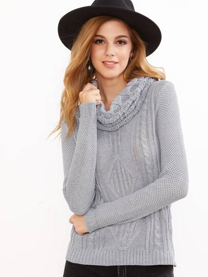 Grey Mixed Knit Cowl Neck Slim Fit Sweater