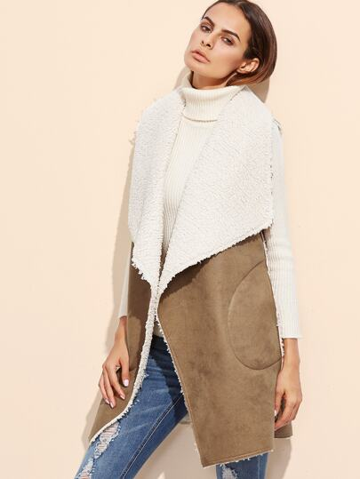 Camel Oversized Drape Collar Faux Shearling Vest