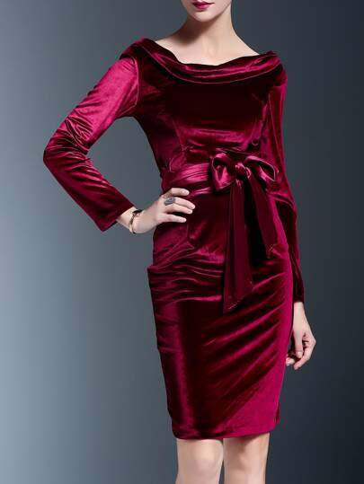 Burgundy Mercerized Velvet Tie-Waist Sheath Dress