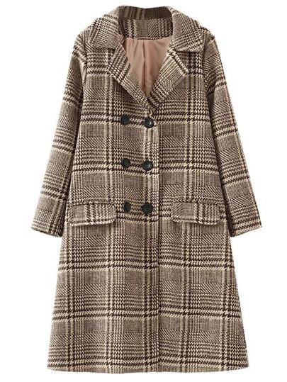 Khaki Plaid Double Breasted Coat