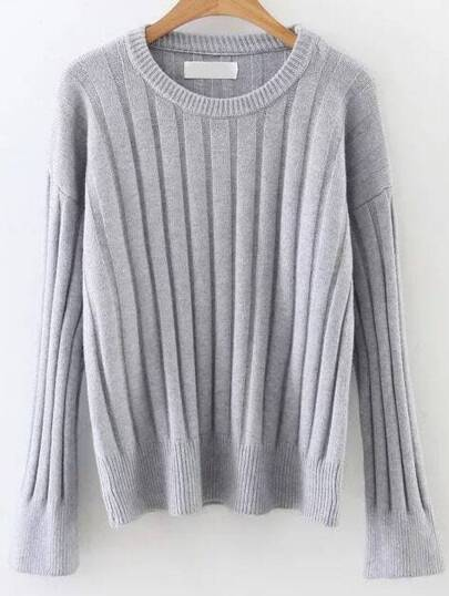 Grey Ribbed Bell Sleeve Sweater