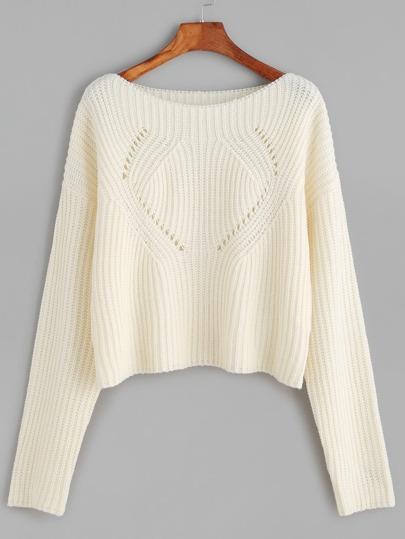 gerippte Pullover mit Holen Design Boot-Ausschnitt -weiß