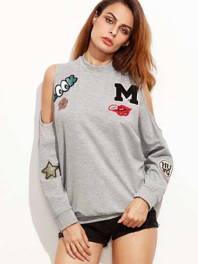Open Shoulder Slub Sweatshirt With Embroidered Patch