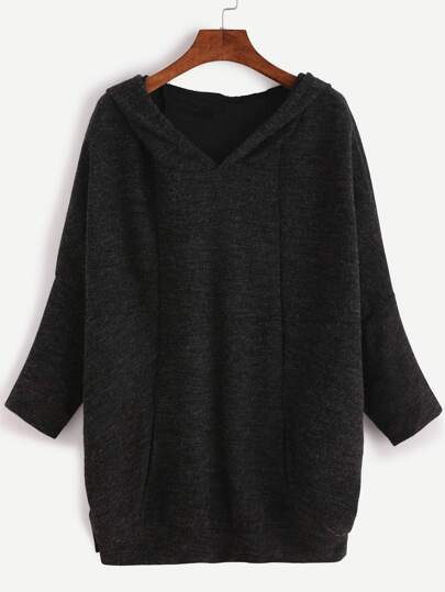 Black Batwing Sleeve Hooded Sweatshirt