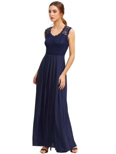 Royal Blue Lace Overlay Maxi Kleid