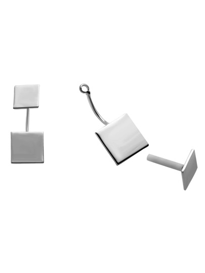 Silver Plated Square Stud Earrings