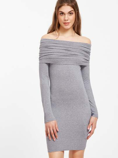 Heather Grey Ruched Off The Shoulder Bodycon Dress