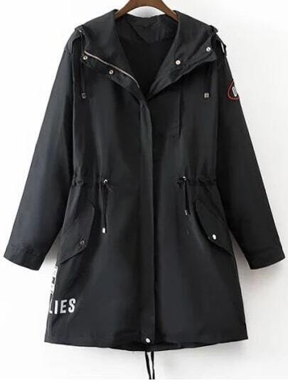 Black Patch Detail Drawstring Hooded Coat