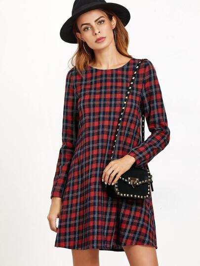 Black And Red Plaid A Line Dress