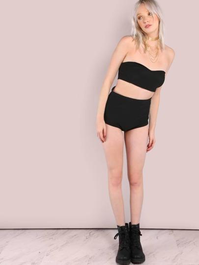 Pantalones cortos con cintura alta - negro