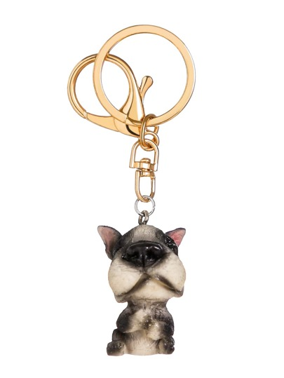 Gold Plated Cute Puppy Keychain