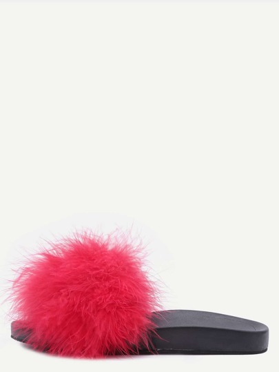 Red Open Toe Faux Fur Slippers