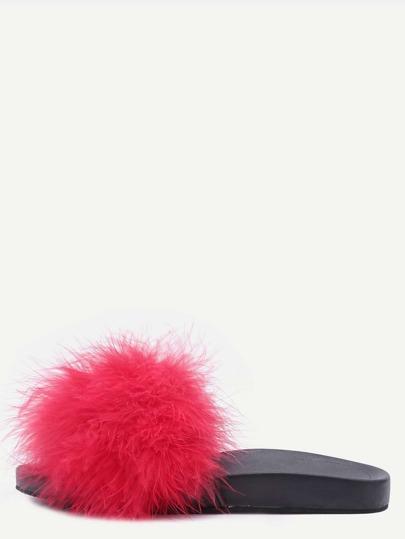 Chaussons en fausse fourrure bout ouvert - rouge