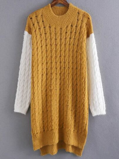 Yellow Cable Knit Color Block High Low Sweater Dress