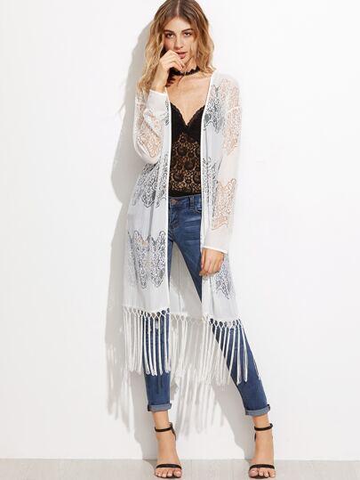 Kimono de encaje con flecos y cinturón - blanco
