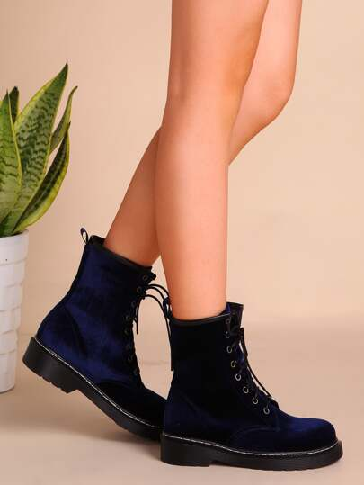 Velvet Lace Up Short Boots NAVY