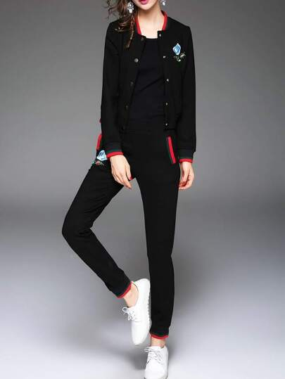 Black Striped Embroidered Top With Pockets Pants