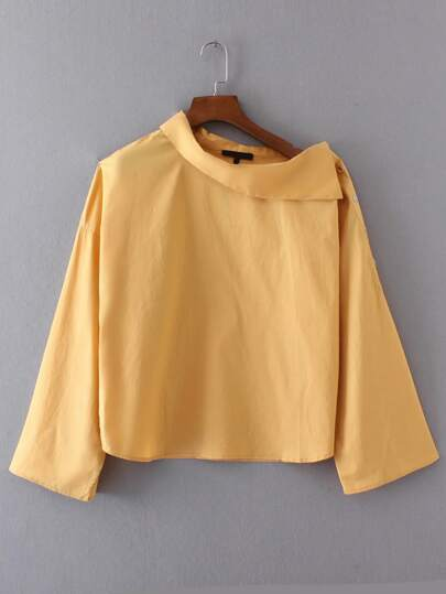 Ginger Oblique Shoulder Button Detail Blouse