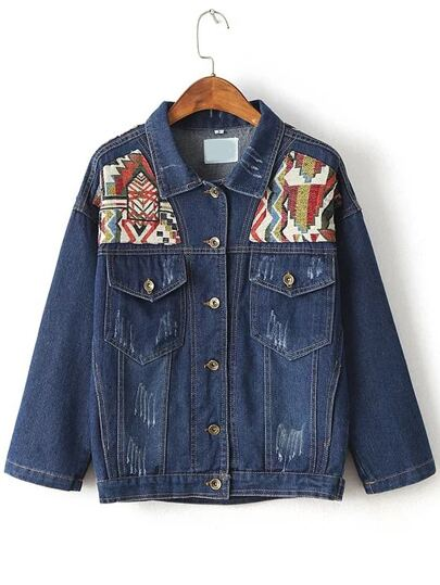 Blue Tribal Embroidery Denim Jacket