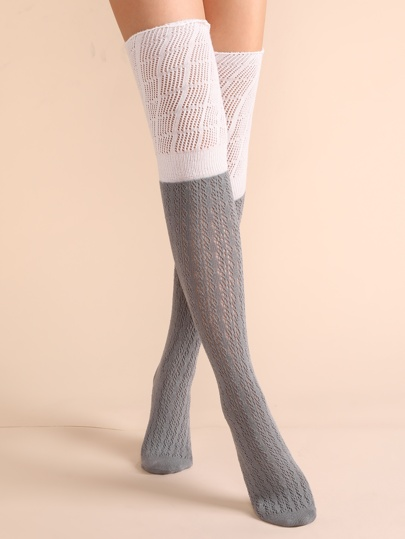 Grey Two Tone Lace Textured Over The Knee Socks