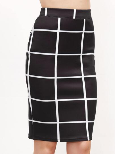 Grid Zipper Waist Fitted Skirt