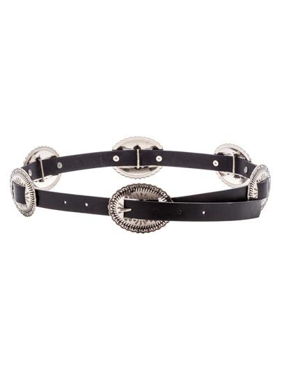 Black Faux Leather Carved Buckle Skinny Belt