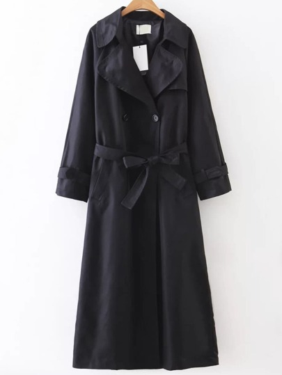 Black Double Breasted Self Tie Trench Coat