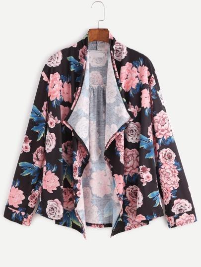 Black Floral Print Drape Front Coat