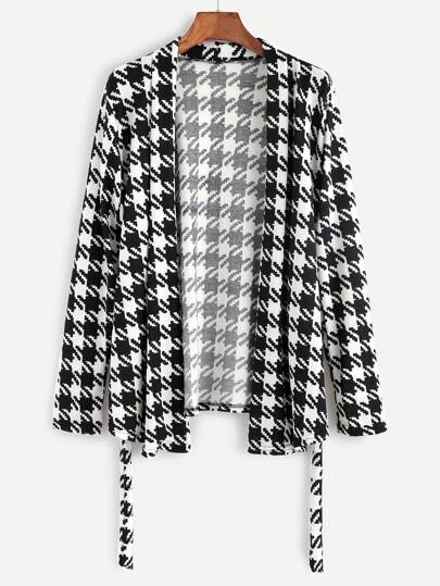 Black And White Houndstooth Tie Detail Sweater Coat