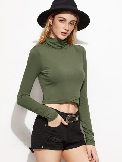 Olive Green Cowl Neck Overlap Front Crop T-shirt