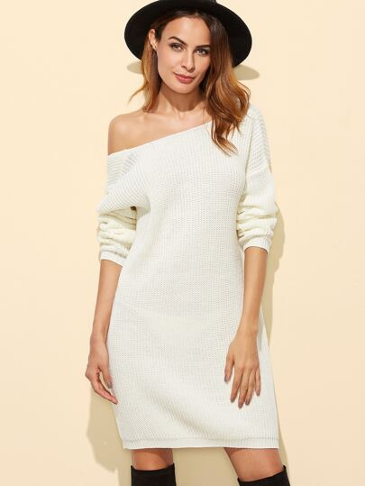 White Boat Neck Drop Shoulder Open Back Sweater Dress