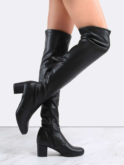 Leather Block Heel Knee Boots BLACK