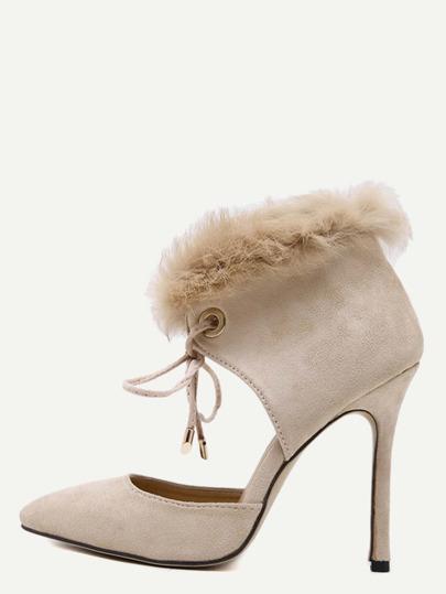Zapatos de tacón de antelina con piel sintética - albaricoque