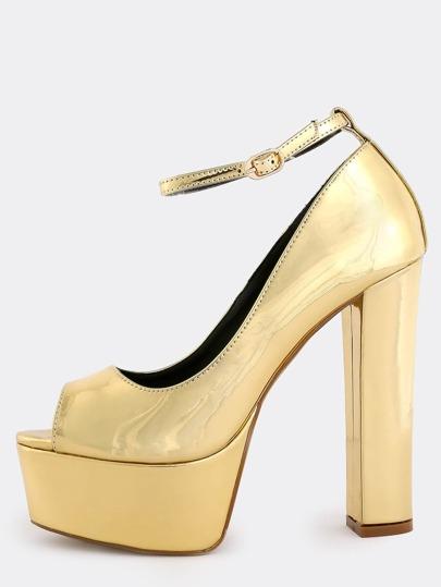 Chunky Heel Platform Pumps GOLD