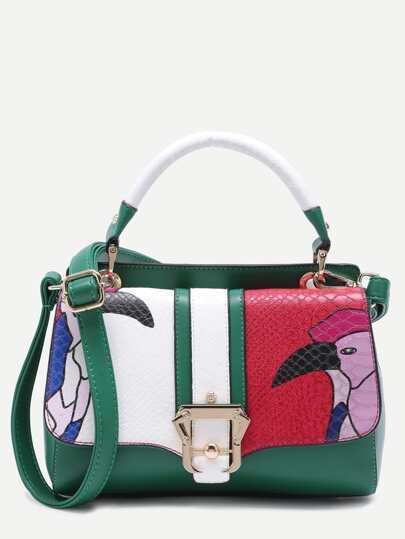 Green Snakeskin Leather Cartoon Print Satchel Bag
