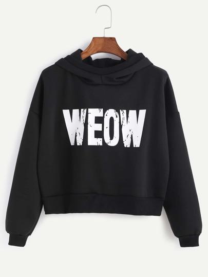 Black Letter Print Hooded Sweatshirt