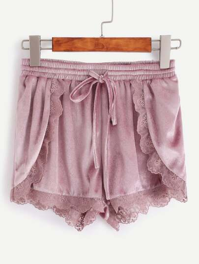 Purple Lace Trim Drawstring Waist Velvet Wrap Shorts