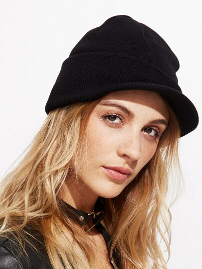 Black Foldover Knit Drape Hat