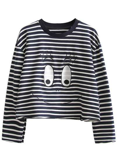 Navy Striped Eye Embroidered Sweatshirt
