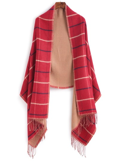 Red Plaid Long Fringe Shawl Scarf