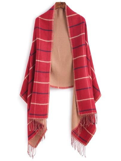 Красный клетчатый шарф-накидка с бахромой
