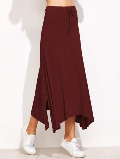 Wine Red Drawstring Waist Slit Asymmetric Skirt