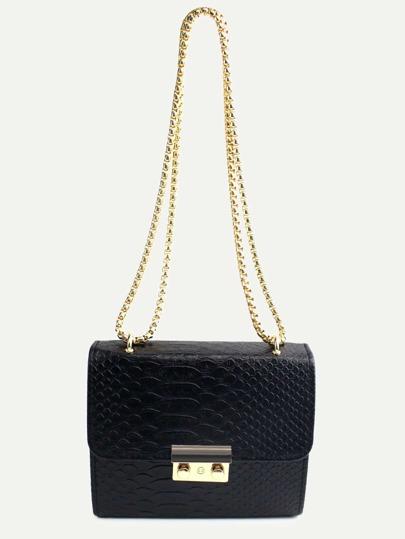 Чёрная модная мини сумка на цепочке
