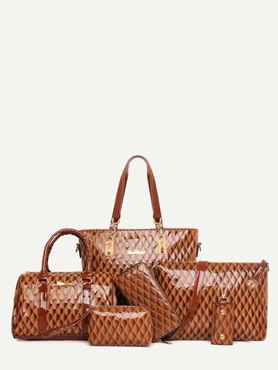 Brown Embossed PU 6 Pieces Tote Bag Set