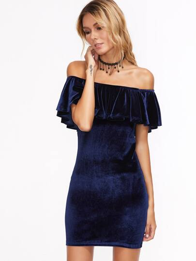 Frill Bardot Neckline Velvet Bodycon Dress