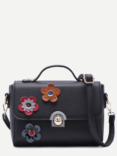 Floral Patch Black PU Crossbody Bag