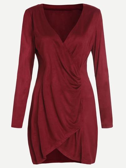 Burgundy V Neck Ruched Wrap Dress